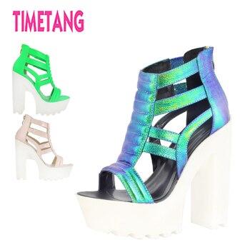 Super nuevo Partido de moda Queens Love Unique Vouge plataforma Sandalias de tacón grueso mujeres cómodas night Club/t-stage zapatos