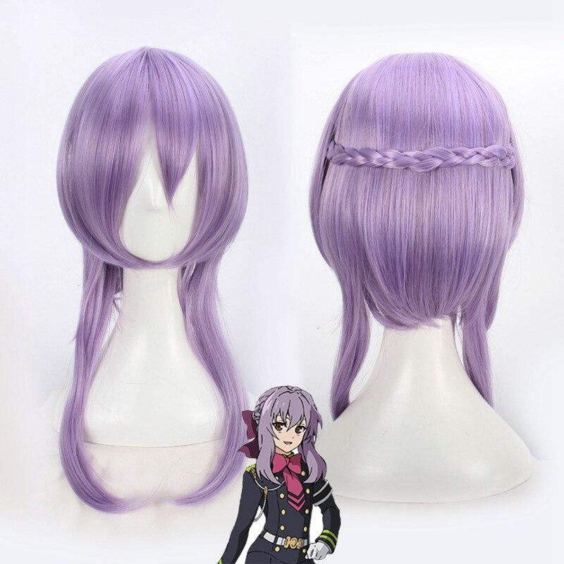 "Seraph of The End Hiiragi Shinoa Cosplay Wigs for Women Female 60cm 23.6"" Medium Long Straight Anime Fake Hair Wig Sale Purple"