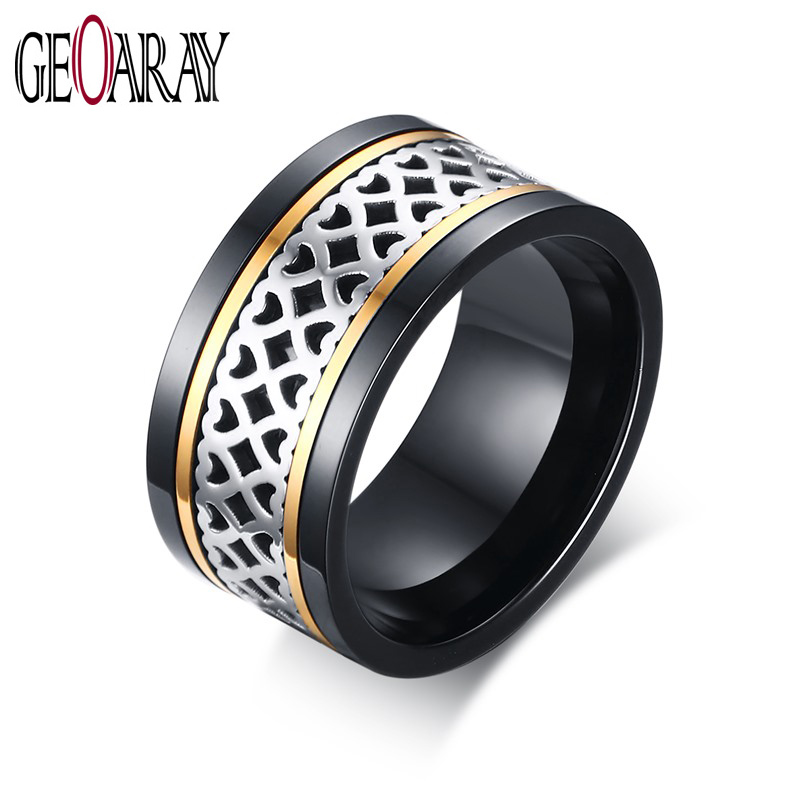 item wedding lover relationship gold black color gift for mytys band tone in engagement and jewelry women double from two rings
