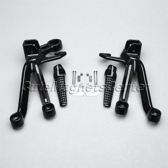 1 Set Black Aluminum Motorcycle Rear Passenger Footrest Foot Pegs Bracket For SUZUKI GSX-R1000 2003-2004 High Quality New