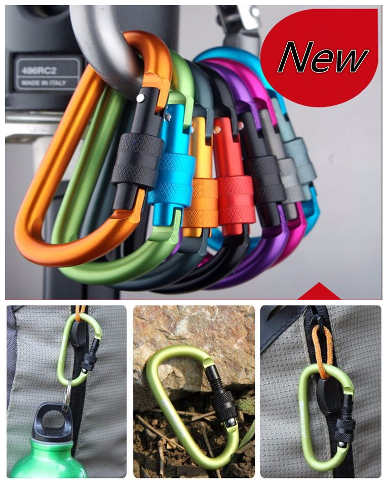 free shipping carabiner climbing 8cm locking type d quickdraw carabiner buckle buckle hanging aluminum nut backpack buckle 1217