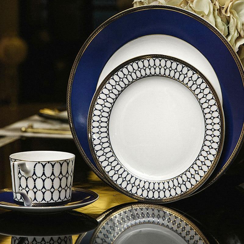 Ensemble de vaisselle occidentale en porcelaine, tasse à café, assiette à Steak, bol à Dessert, vaisselle de Style européen concis 4 pièces/ensemble