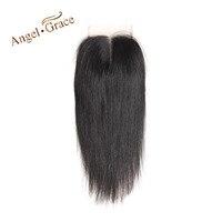 ANGEL GRACE Hair Brazilian Straight Hair Lace Closure 4x4 Middle Part Top Closure 100 Human Hair