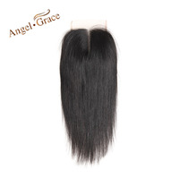 ANGEL GRACE Hair Brazilian Straight Hair Lace Closure 4x4 Middle Part Top Closure 100 Human Hair