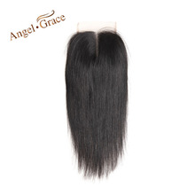 ANGEL GRACE Hair Brazilian Straight Hair Lace Closure 4×4 Middle Part Top Closure Natural Color Remy Hair 100%Human Hair