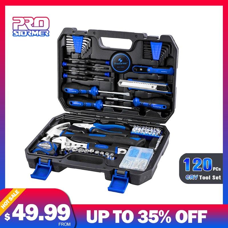 Prostormer 120 PC ménage outil ensemble maison réparation outil ensemble outils à main voiture réparation boîte à outils professionnel clé ruban couteau marteau