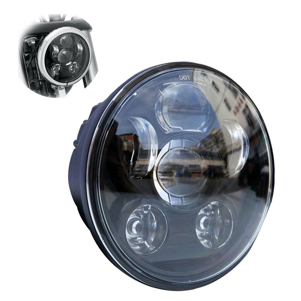 DOT SAE E9 Approved 5-3/4 Inch 45W Moto Projector LED Headlight For Harley Davidson Motorcycles