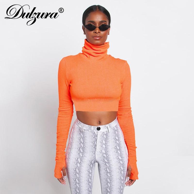 Dulzura long sleeve turtleneck glove sweater crop top sexy women pullover 2018 autumn winter knitted fashion party streetwear