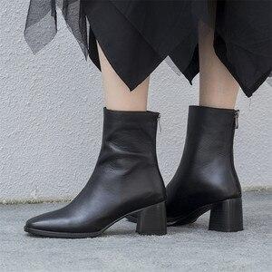 Image 5 - FEDONAS 2021 קידום מכירות חורף סתיו נשים מגפי פלטפורמות כיכר העקב קרסול מגפי עור פרה אופנוע גברת גבירותיי נעליים
