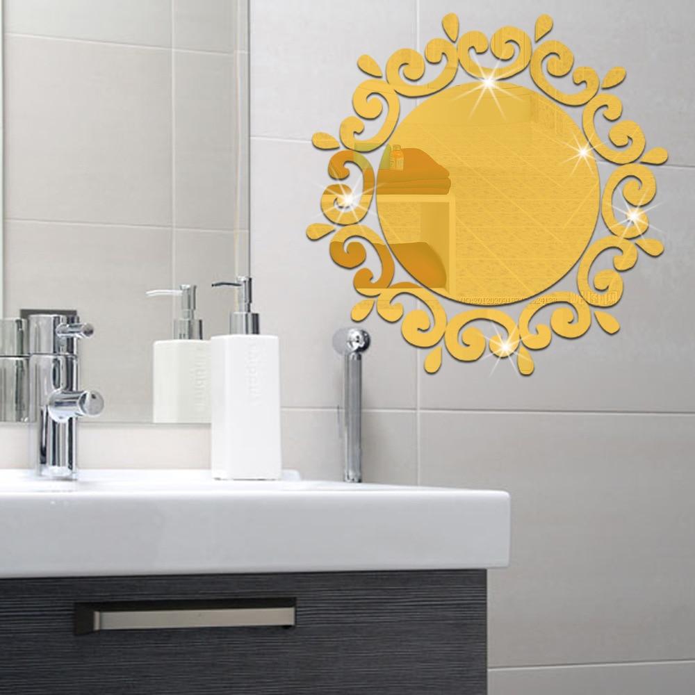 Self Adhesive PVC Wallpaper Modern 3D Stereoscopic Mirror wall ...