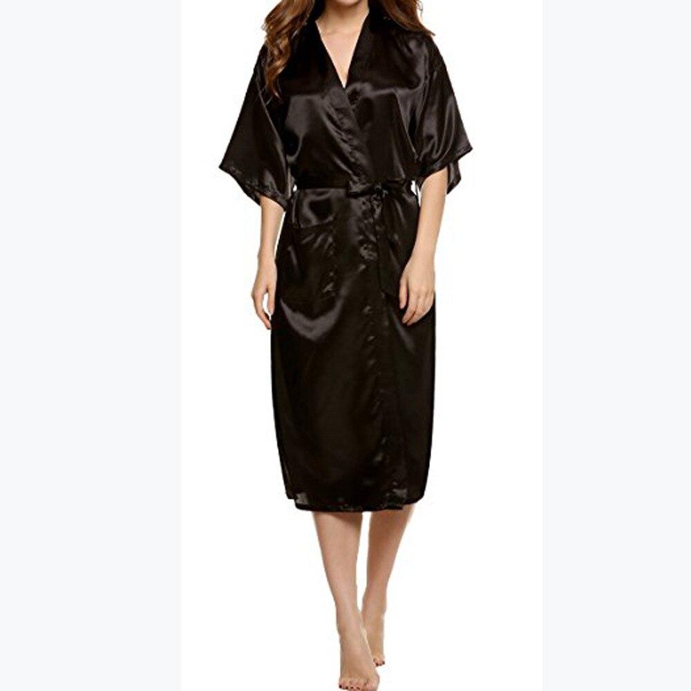 Nachthemden Das Beste Sexy Frauen Silk Satin Bademantel Brautjungfer Nachtwäsche Roben Lange Klassische Solide Kimono Feminino Weibliche Peignoir Dressing Kleid Tenu Eleganter Auftritt Damen-nachtwäsche