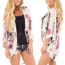Women Lady Floral Loose Shawl Vintage Kimono Cardigan Boho Chiffon Coat Jacket Blouse Long Sleeve Tops(China)