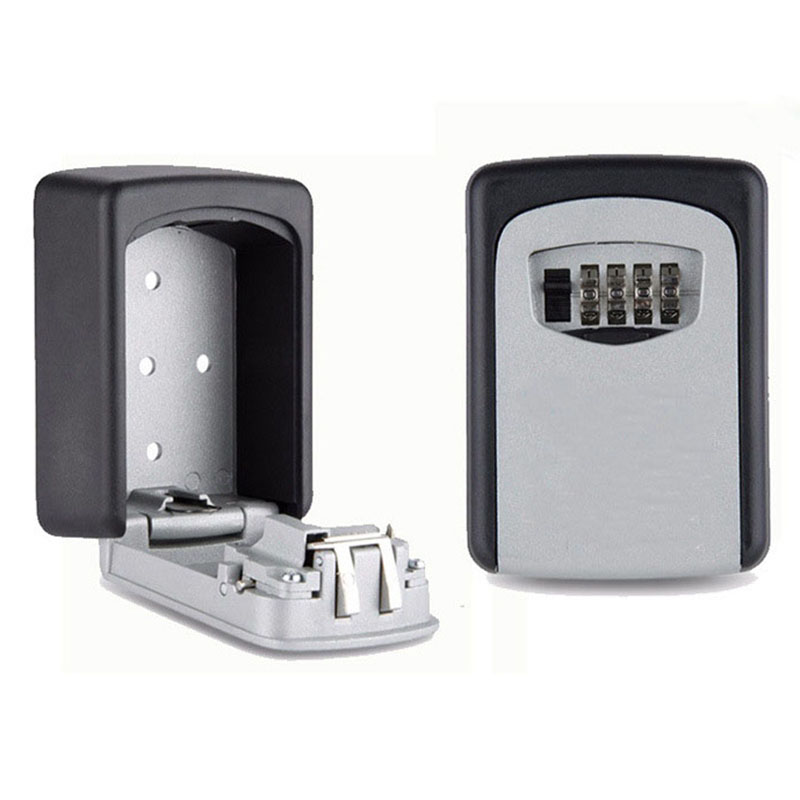 Key Storage Lock Box Wall Mount Holder 4 Digit Combination Safe Outdoor Security realtor wall mount key lock box with 10 digit push button combination is weather resistant for indoors or outdoors