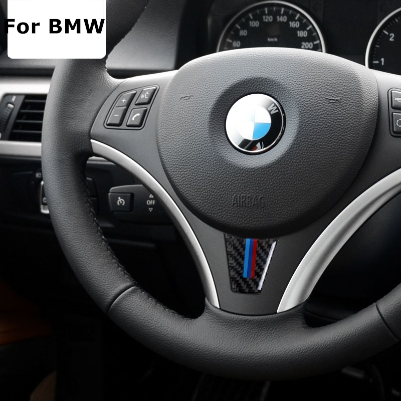 carbon fiber car steering wheel sticker m stripe emblem stickers for bmw e90 e92 3 series 320. Black Bedroom Furniture Sets. Home Design Ideas