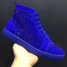 Moraima Snc Newest Blue Crystal Embellished Men Casual Shoes