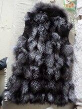 70 cm long silver fox fur coat quality vest