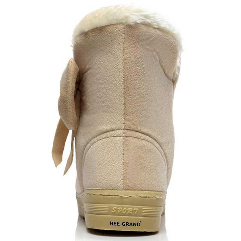 TOPUK GRAND Yeni Sıcak Satış Kadın Kar Botları Katı Papyon Slip-On Yumuşak Sevimli Kadın Çizmeler Yuvarlak Ayak Düz kış Ayakkabı XWX1385