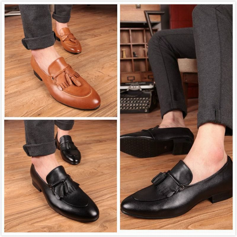 0dd315945c2 Brand new men s tassel loafers genuine leather mocassins Bullock zapatos  hombre dress shoes