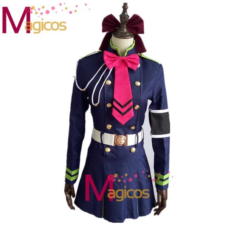 Anime Serafim da Extremidade Shinoa Hiragi Uniforme Militar Conjunto  Completo Traje Cosplay Vestido Feito Sob Medida 47d10968f7c2a