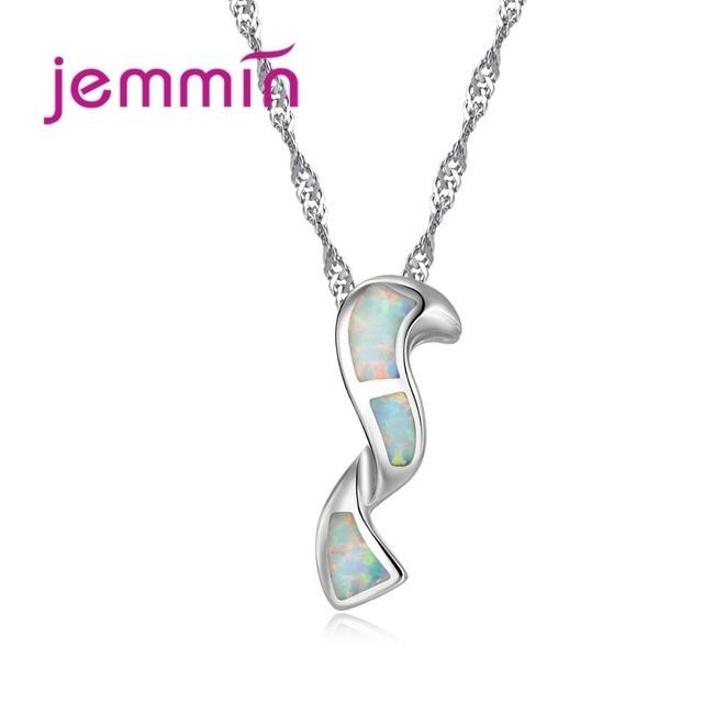 Jemmin Brand Geometric White Opal Pendants Necklaces For Women 925 Sterling Silv