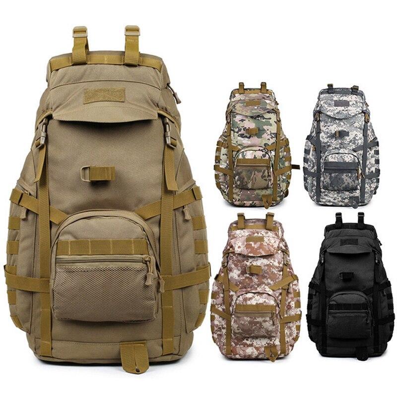 Molle 60L Camping sac à dos tactique sac à dos militaire grands sacs à dos imperméables Camouflage randonnée sacs d'armée en plein air