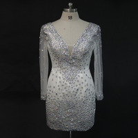 See Through V Neck Long Sleeve Beaded Sheath Mini White Tulle Short Prom Dresses Sexy Party
