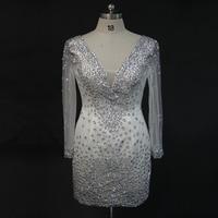 Durchsichtig Long Sleeve Perlen Mantel Mini White Tulle Short Prom Dresses Sexy Party Kleider 2013 Schnelles Verschiffen