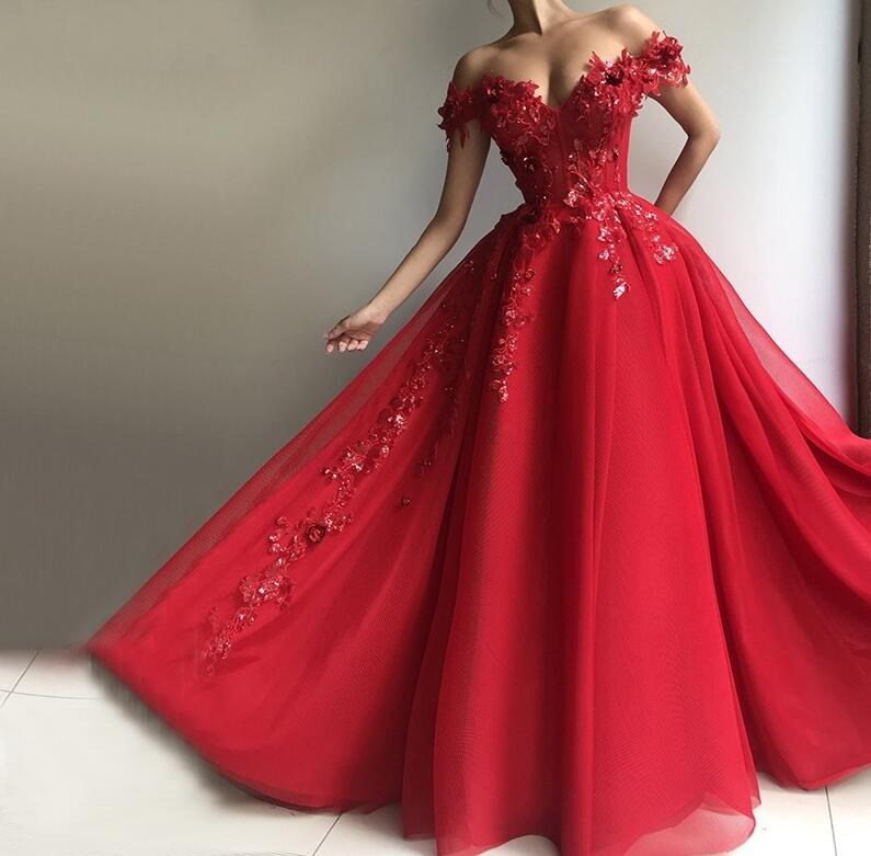 Red Muslim Evening Dresses 2019 V-Neck Sequin Lace Beaded Tulle Off The Shoulder Ball Gown Dubai Saudi Arabic Long Evening Gown