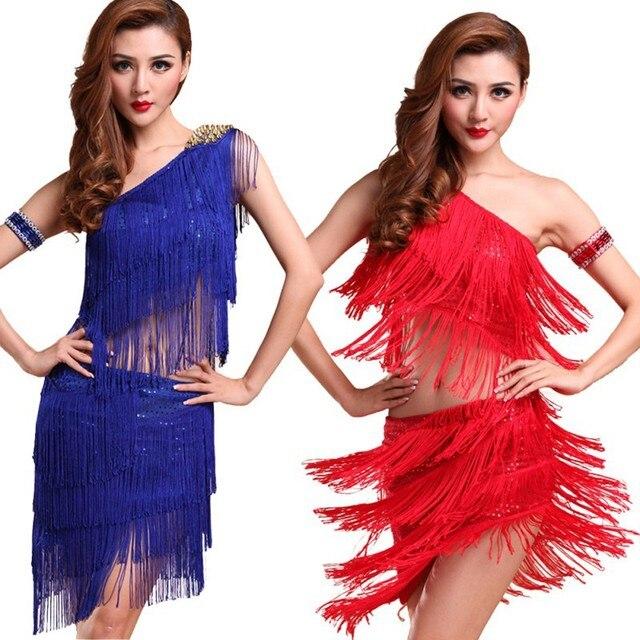 db9806db3 Sexy Women Latin Dance Skirts & Rhythm Salsa Cha Cha Tassels Tango Dress  Top Ballroom Y46