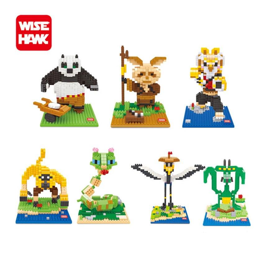 WiseHawk New Arrival Kung Fu Panda 3D Diamond Building Bricks Plastic Cartoon Animal Nanoblocks Brinquedos Toys Children Gifts silver s kung fu panda holiday level 1 cd