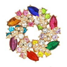 Beautiful Crystal Diamante Floral Garland Brooches Flower Pi