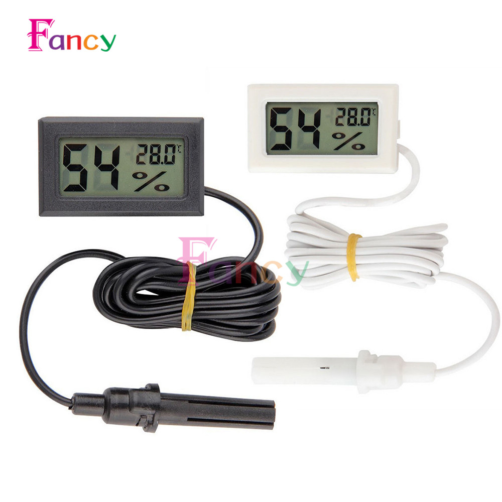 Mini LCD Digital Thermometer Hygrometer Temperature Indoor Convenient Temperature Sensor Humidity Meter Gauge Instruments Cable nktech ut333bt bluetooth mini lcd digital air temperature humidity meter thermometer hygrometer gauge tester ut333 upgrade