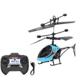 Image 1 - Mini RC pilot indukcyjny na podczerwień RC zabawka 2CH Gyro helikopter RC zdalnie sterowany dron helikopter niebieski zielony Model a612