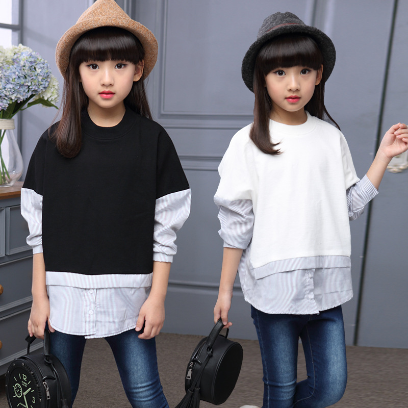 Fashion 2018 Children T Shirts Spring Autumn Girls Black and White Patchwork Shirts Teenage Long Sleeve Tops Big Girls Clothes