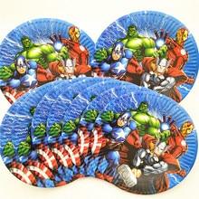 10 шт., принадлежности для вечеринок с изображением Мстителей, бумажная тарелка для детей, для дня рождения, вечеринки, супергероя, украшения ...