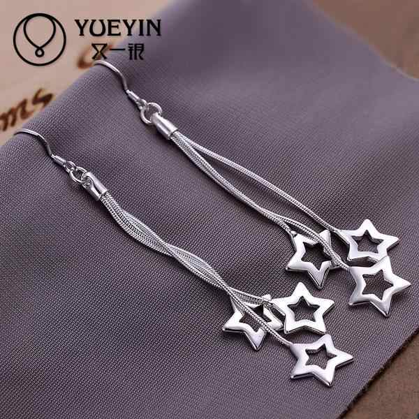 New supplies star shape silver plated drop earrings fashion jewelry high quality dangle earring long earrings E161