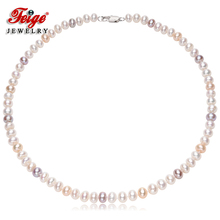 Classic Style Women's Freshwater Pearl Necklaces 7-8mm Natural Freshwater Pearl Choker Necklaces Fine Jewelry 50cm freshwater natural pearl necklace women multi color genuine fine wedding pearl choker necklaces jewelry