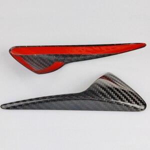 Image 5 - Seite Kamera Kotflügel Marker Schutz Deckt für Tesla modell 3 S X 2013 2019 Real Carbon Fiber Dekorative Zubehör