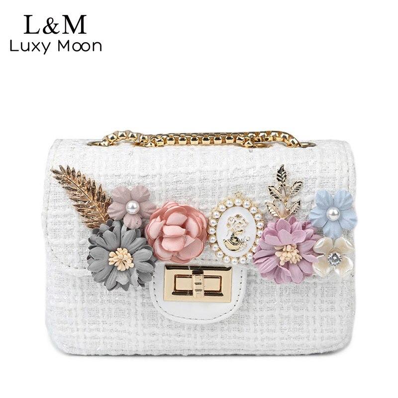 Women White Messenger Bags Flower Solid Handbags Famous Brands Fashion Wool 2017 Teenage Girls Shoulder Bag Bolsa Female XA937H