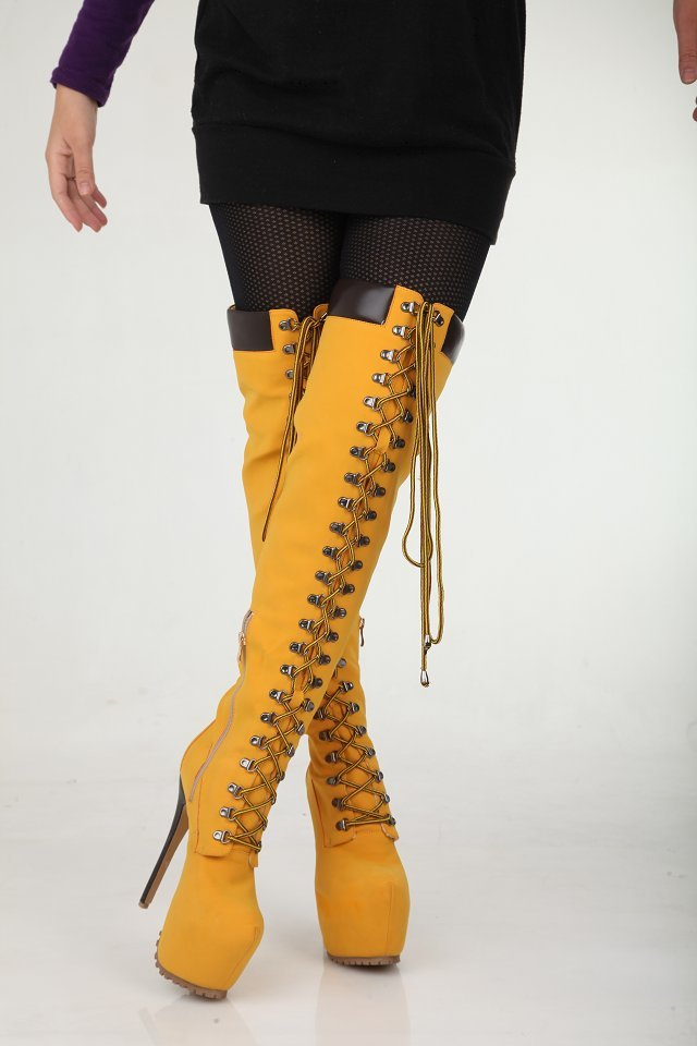 dba2b5e4dd5e Sexy Winter Boots Designer Women Thigh High Boots New 2013 Brown Lace Up Boot  High Heel Platform Bootie Women Motorcycle Boots-in Knee-High Boots from  Shoes ...