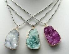 Natuurlijke Titanium Kristal Druzy Quartz Quartz Geode steen Onregelmatige vorm hanger kristallen ketting diy sieraden maken 1 pcs