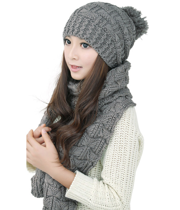 Fashion Warm Womens Scarf Hats Set Knitted Beanies Autumn Winter Scarves 5 Colors Set Cap and Scarf Outwear Snow Warm Skiing