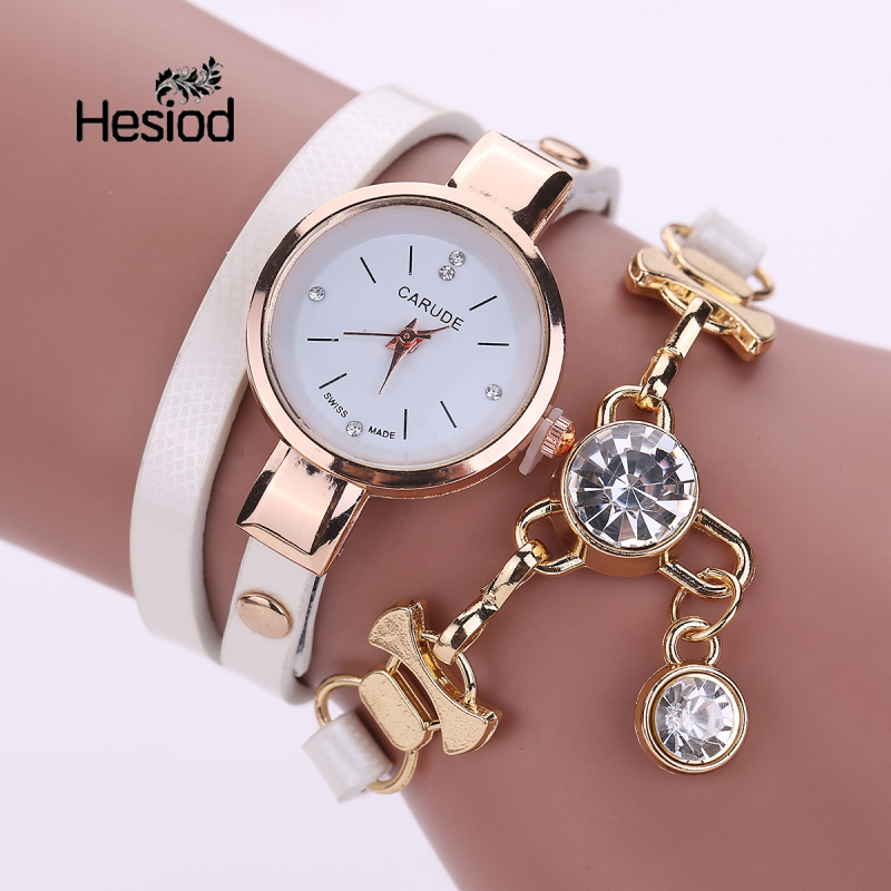 Hesiod Women Bracelet Watch Crystal Charm PU Leather Casual Bracelet Watches Students Clock Wholesale