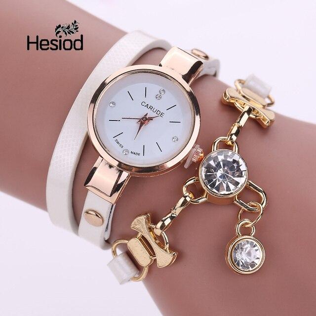Hesiod Women Bracelet Watch Crystal Charm PU Leather Casual Bracelet Watches Stu