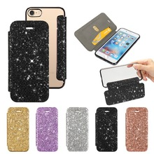 Glitter Leather Flip Phone Bag Case for iphone XS Max XR 6 6S 7 Plus Clear Cover 8 plus X 5 5s se Coque Cases