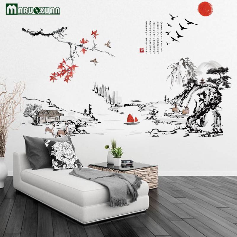 Maruoxuan 2017 New Chinese Style Wall Stickers Ink Painting The Living Room Bedroom Decoration Vinyl Mural Removable Wall Decals