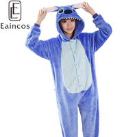 Unisex Adult Animal Suits Flannel Onesies Pajamas Blue Pink Stich Cosplay Costume Homewear All In One