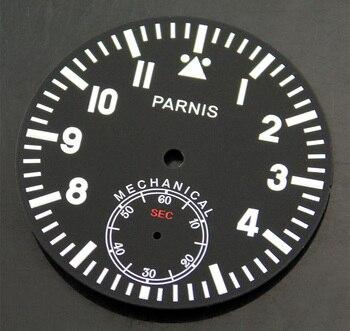 Parnis esfera negra 38,9mm ajuste ETA 6498 Asia 3620 st 3600 movimiento reloj P418