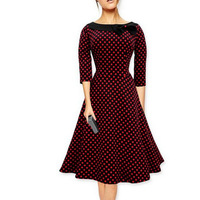 2017 New Elegant Woman 3 4 Sleeve Polka Dot Wine Red Black Blue Bow Neck Vintage
