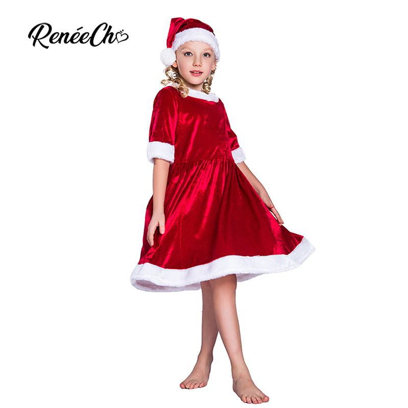 Reneecho 2018 Christmas Costume for Kids Santa Claus Dresses Girls Toddler Cosplay Children Holiday Halloween Outfit Hat Suit